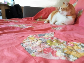 couverture plaid blanket chouette kit cat patch chat patchwork liberty sew couture 1