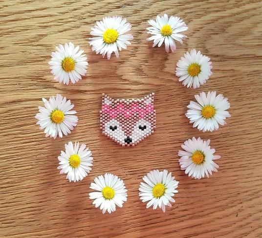 tissage perles beads miyuki brickstitch peyote mamzelle lulu renard fox fleurs broche bijoux