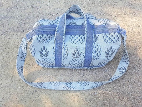 sac bowling bandouillère chouette kit toile ananas biais zip tissu couture sport diy morue 7