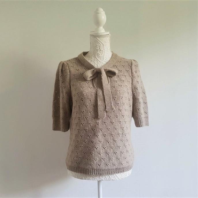 vieille morue knit tricot phildar pull lavalière manche ballon point ajouré jour dentelle femme rentré we are knitters baby alpaga 1