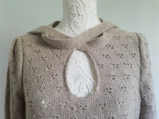vieille morue knit tricot phildar pull lavalière manche ballon point ajouré jour dentelle femme rentré we are knitters baby alpaga 14