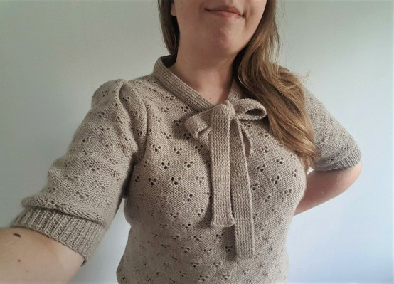 vieille morue knit tricot phildar pull lavalière manche ballon point ajouré jour dentelle femme rentré we are knitters baby alpaga 18