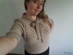 vieille morue knit tricot phildar pull lavalière manche ballon point ajouré jour dentelle femme rentré we are knitters baby alpaga 19