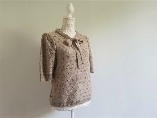 vieille morue knit tricot phildar pull lavalière manche ballon point ajouré jour dentelle femme rentré we are knitters baby alpaga 2