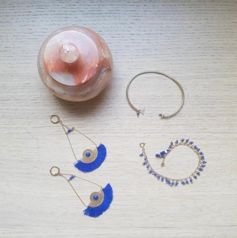 vieille morue droguerie kit bijoux aztèque diy bleu roi gold boucles oreille bracelet perles 1