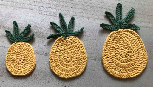 ananas pineapple coaster dessous de verre déco table crochet by hand london vieille morue 1