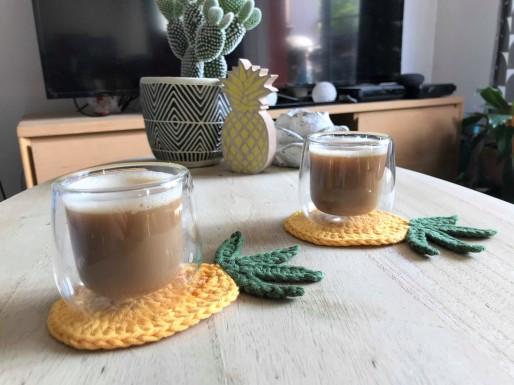 ananas pineapple coaster dessous de verre déco table crochet by hand london vieille morue 9