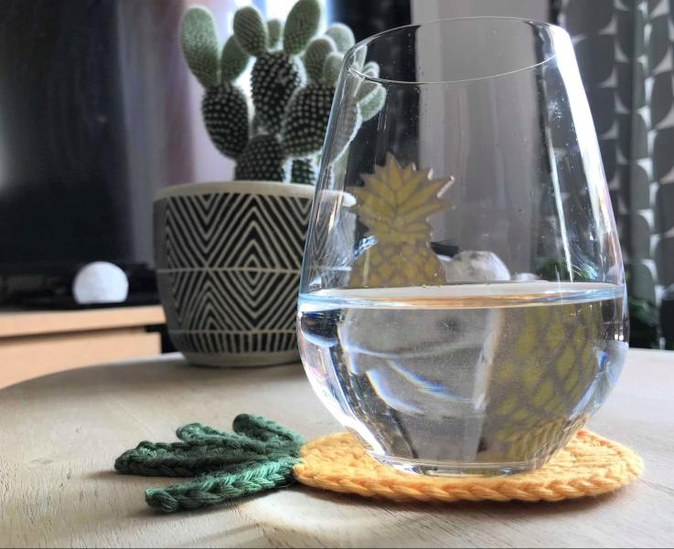 ananas pineapple coaster dessous de verre déco table crochet by hand london vieille morue verre