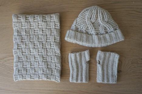 chouette kit crochet ensemble bonnet mitaines snood point de vannerie scott calendrier avent cotton merino concept katia vieille morue 2