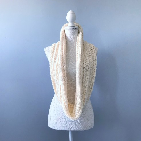 Bmade snood xxl tricot milk drops big merinos côtes cordelées knit vieille morue 1