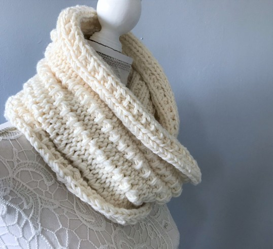 Bmade snood xxl tricot milk drops big merinos côtes cordelées knit vieille morue 5