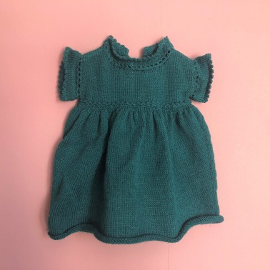 vieille morue phildar lambswool emeraude robe isis layette tricot crochet 6 mois automne hiver 1