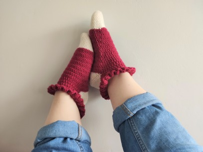 chaussettes volants fait main crochet magazine vieille morue phildar phil folk drops fabel 1