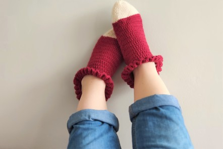 chaussettes volants fait main crochet magazine vieille morue phildar phil folk drops fabel 2