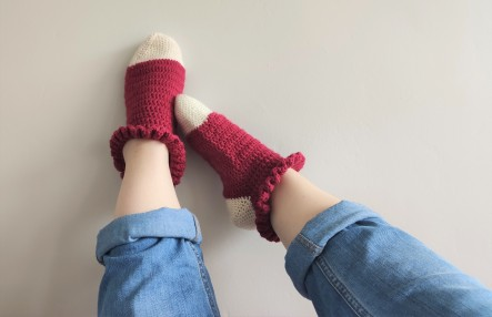 chaussettes volants fait main crochet magazine vieille morue phildar phil folk drops fabel 4