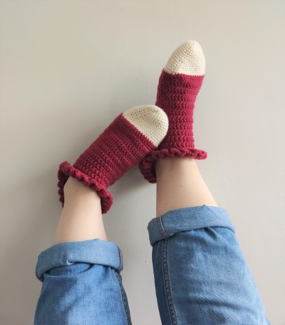 chaussettes volants fait main crochet magazine vieille morue phildar phil folk drops fabel 5