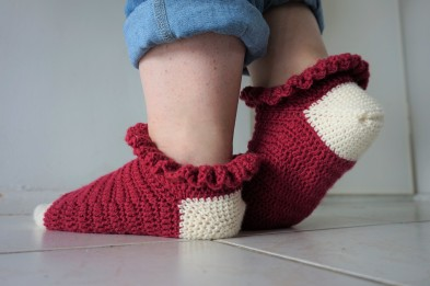 chaussettes volants fait main crochet magazine vieille morue phildar phil folk drops fabel 9