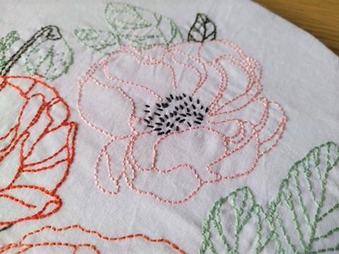 atelier hoop trois fleurs pivoine coquelicot rose broderie embroidery débutant dmc vieille morue 3